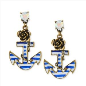 ❤ 4for$25 Betsey Johnson Blue White Striped Anchor